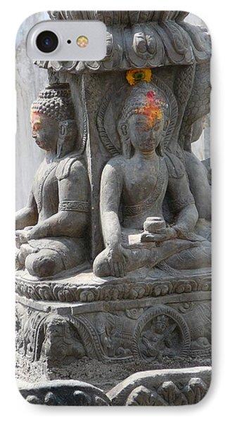 Buddha Statue At Temple - Swayambunat  IPhone Case by Dagmar Batyahav