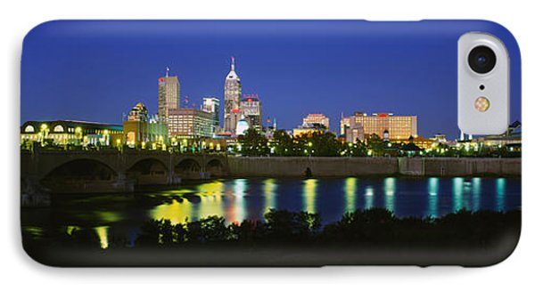 Buildings Lit Up At Dusk, Indianapolis IPhone Case by Panoramic Images