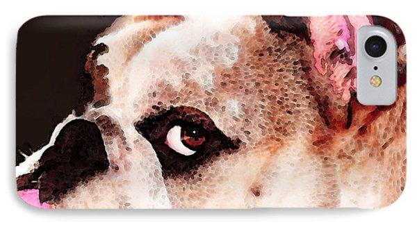 Bulldog Art - Let's Play IPhone Case by Sharon Cummings