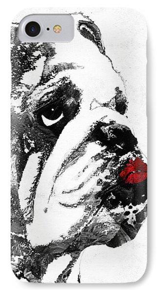 Bulldog Pop Art - How Bout A Kiss 2 - By Sharon Cummings IPhone Case by Sharon Cummings