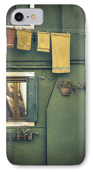 Burano - Green House IPhone Case by Joana Kruse