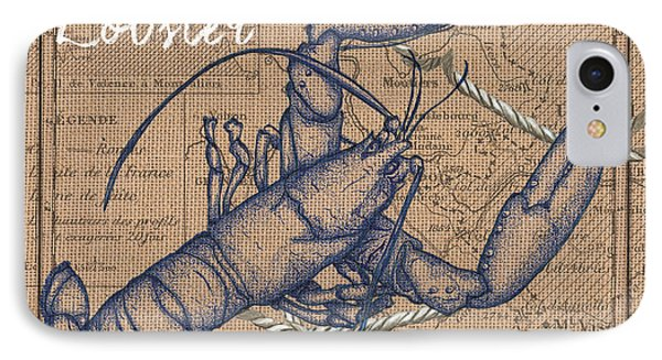 Burlap Lobster IPhone Case by Debbie DeWitt