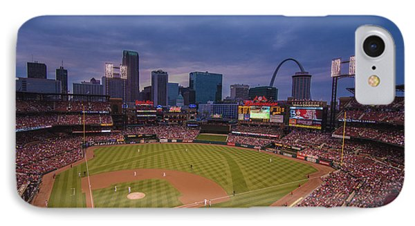 Busch Stadium St. Louis Cardinals Ball Park Village Twilight #3c IPhone 7 Case by David Haskett