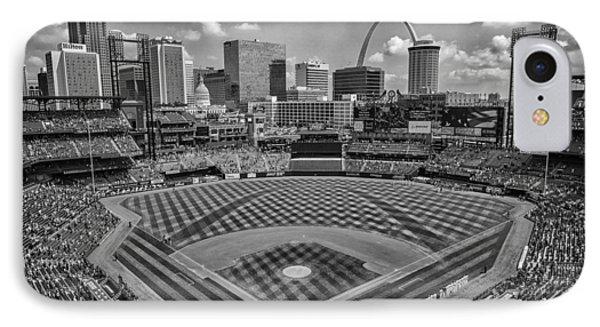 Busch Stadium St. Louis Cardinals Black White Ballpark Village IPhone Case by David Haskett