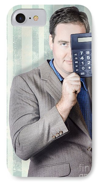 Business Person Hiding Behind Cash Calculator IPhone Case by Jorgo Photography - Wall Art Gallery