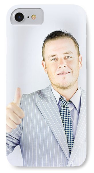 Business Person Pointing Up To Copyspace IPhone Case by Jorgo Photography - Wall Art Gallery