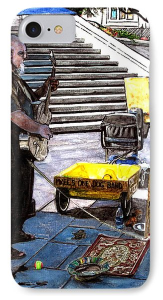 Busker With Dog IPhone Case by John Boles