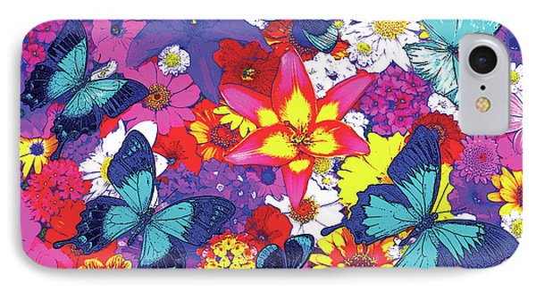 Butterflies And Flowers IPhone Case by JQ Licensing