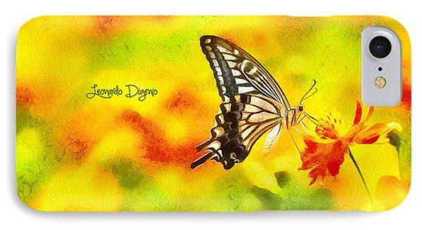 Butterfly On Flower - Da IPhone Case by Leonardo Digenio