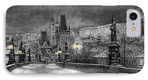Bw Prague Charles Bridge 06 IPhone Case by Yuriy  Shevchuk