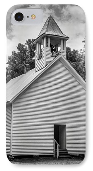 Cades Cove Primitive Baptist Church - Bw W Border IPhone Case by Stephen Stookey