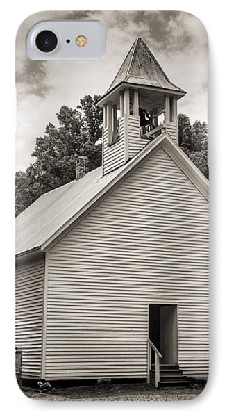Cades Cove Primitive Baptist Church - Toned Bw W Border IPhone Case by Stephen Stookey