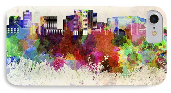 Cambridge Ma Skyline In Watercolor Background IPhone Case by Pablo Romero