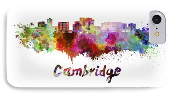 Cambridge Ma Skyline In Watercolor IPhone Case by Pablo Romero