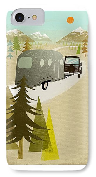 Camper Driving Into The Mountains IPhone Case by Gillham Studios