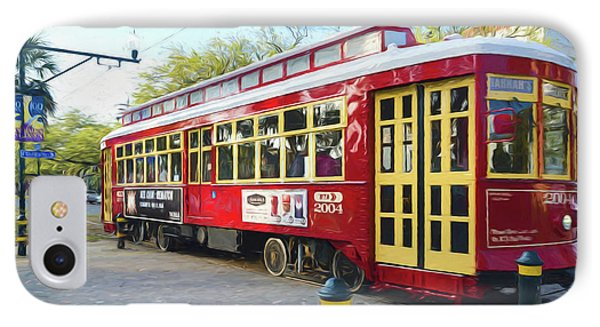 Canal Streetcar - Digital Painting IPhone Case by Kathleen K Parker