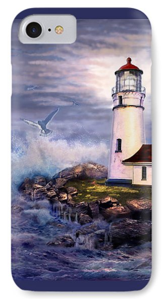 Cape Blanco  Lighthouse On Rocky Shores IPhone Case by Regina Femrite