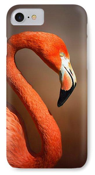 Caribean Flamingo Portrait IPhone Case by Johan Swanepoel