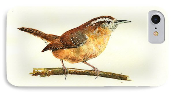 Carolina Wren Watercolor Painting IPhone 7 Case by Juan  Bosco