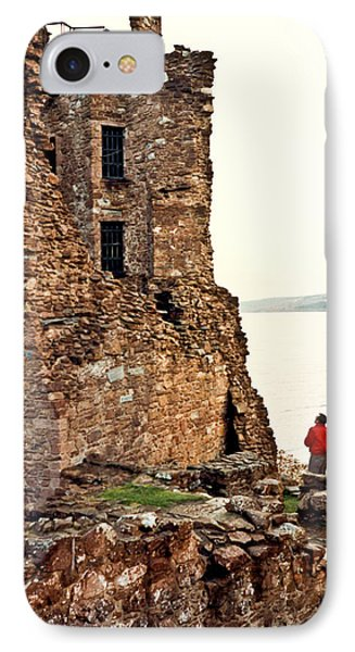 Castle Ruins On The Seashore In Ireland Phone Case by Douglas Barnett