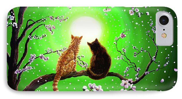 Cats On A Spring Night Phone Case by Laura Iverson