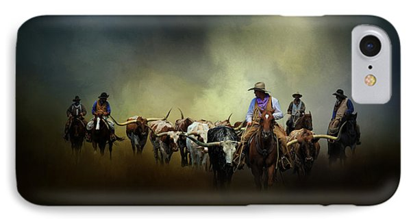 Cattle Drive At Dawn IPhone Case by David and Carol Kelly