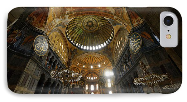 Ceiling Domes In An Empty Hagia Sophia Istanbul With Chandeliers IPhone Case by Reimar Gaertner