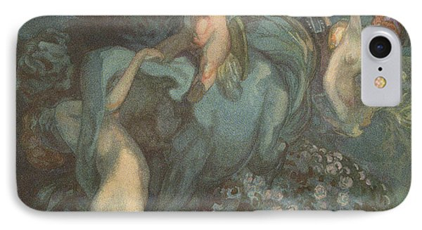 Centaur Nymphs And Cupid IPhone Case by Franz von Bayros