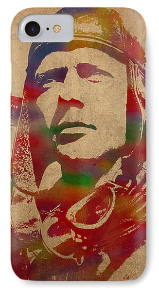 Charles Lindbergh Watercolor Portrait IPhone Case by Design Turnpike