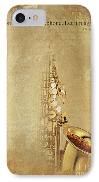 Charlie Parker Saxophone Brown Vintage Poster And Quote, Gift For Musicians IPhone 7 Case by Pablo Franchi