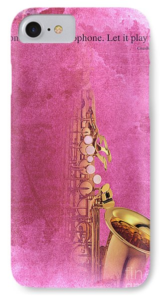 Charlie Parker Saxophone Light Red Vintage Poster And Quote, Gift For Musicians IPhone Case by Pablo Franchi