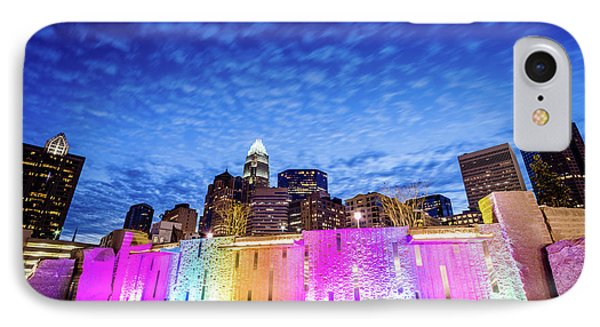 Charlotte Bearden Park Waterfall Fountain At Night IPhone Case by Paul Velgos
