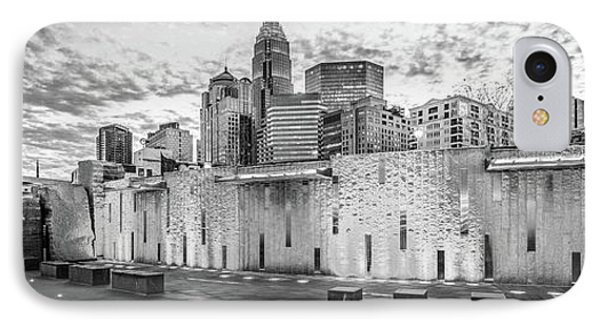 Charlotte Nc Black And White Panoramic Picture IPhone Case by Paul Velgos