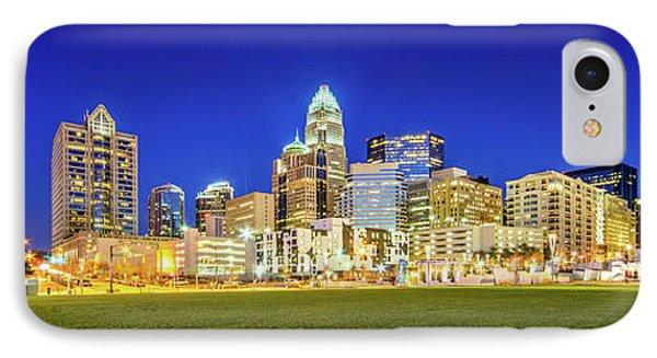 Charlotte Skyline At Night Panorama Photo IPhone Case by Paul Velgos