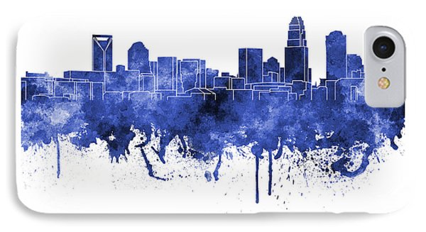 Charlotte Skyline In Blue Watercolor On White Background IPhone Case by Pablo Romero
