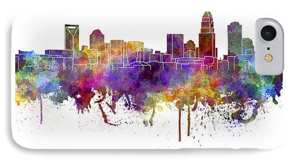 Charlotte Skyline In Watercolor On White Background IPhone Case by Pablo Romero