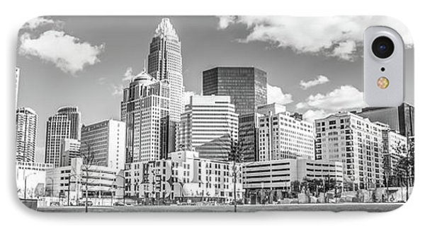 Charlotte Skyline Panorama Black And White Image IPhone Case by Paul Velgos