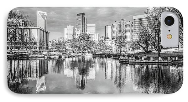 Charlotte Skyline Reflection Black And White Photo IPhone Case by Paul Velgos