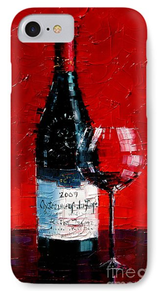 Still Life With Wine Bottle And Glass I IPhone Case by Mona Edulesco