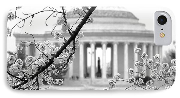 Cherry Tree And Jefferson Memorial Elegance  IPhone 7 Case by Olivier Le Queinec