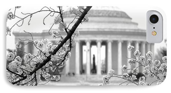 Cherry Tree And Jefferson Memorial Elegance  IPhone Case by Olivier Le Queinec