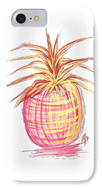 Chic Pink Metallic Gold Pineapple Fruit Wall Art Aroon Melane 2015 Collection By Madart IPhone 7 Case by Megan Duncanson