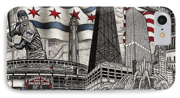 Chicago Cubs, Ernie Banks, Wrigley Field IPhone Case by Omoro Rahim