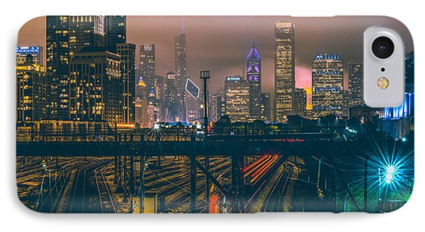 Chicago Night Skyline  IPhone Case by Cory Dewald