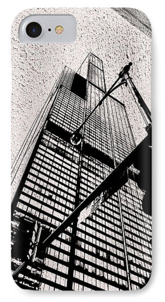 Chicago Sears Willis Tower In Textured Bw IPhone Case by Thomas Woolworth