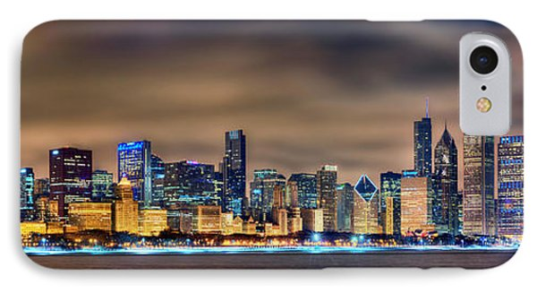 Chicago Skyline At Night Panorama Color 1 To 3 Ratio IPhone Case by Jon Holiday