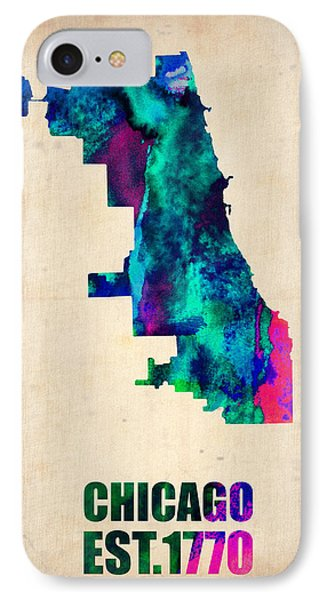 Chicago Watercolor Map IPhone Case by Naxart Studio