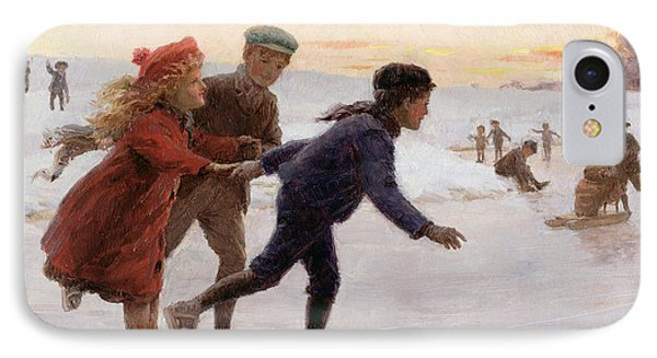 Children Skating IPhone Case by Percy Tarrant