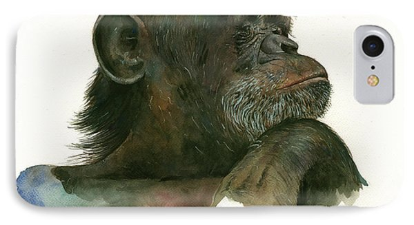 Chimp Portrait IPhone Case by Juan Bosco