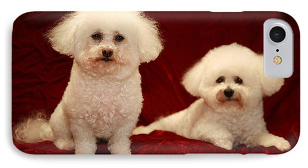 Chloe And Jolie The Bichon Frises Phone Case by Michael Ledray